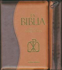La Biblia- Libro del Pueblo de Dios con Covertor Simil Piel y Cierre Cremellera