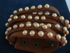 Honora Leather and Pearl Snap Back Triple Braid Wide Cuff Bracelet-New Very Boho