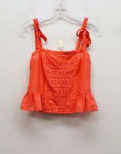 TEXTILE ELIZABETH AND JAMES Size S Coral Pink Crochet Knit Tie Shoulder Top