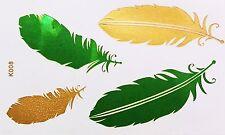 Tatouage doré vert une fois collée Flash Temporaire 4 pièces bracelet collier