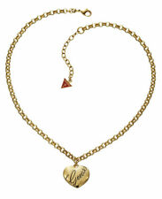Guess Jewelry Womens Gold Heart Charm Chain Ladies Necklace UBN10102