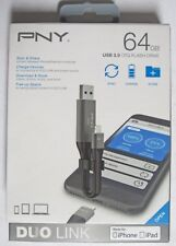 New! PNY Duo-Link On-the-Go 64GB USB 3.0 Apple Lightning Flash Drive Metal Gray