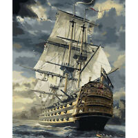 30x40cm Sailboat DIY Paint By Numbers Oil Painting Kit Canvas
