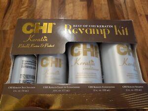 CHI Keratin Revamp Kit 12 oz Shampoo, Conditioner, Leave In & Silk Infusion NIB