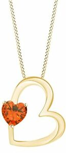 Simulated Citrine Heart Shape Pendant Nceklace in 14K Gold Over Silver