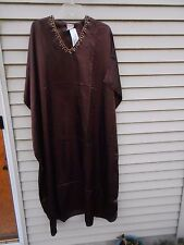 MUMU 1X 2X 3X  SANTE KAFTAN CAFTAN HOUSE DRESS SOLID BROWN moo muu