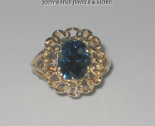 EXQUISITE ESTATE 10K YELLOW GOLD 8 x 10 OVAL BLUE TOPAZ LADIES RING Size 7.75