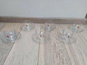 Kimbo Coffee italian Cups with saucers lot of six Transparent glass design rare