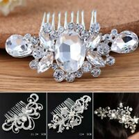 Flower Wedding Hair Pins Bridesmaid Crystal Pearls Bridal Clips Comb Accessories