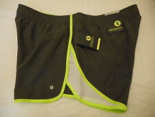 Women's Xersion Quick Dri Athletic Shorts Charcoal Lime  Size Large NEW