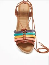 Old Navy Genuine Leather Brown and Multicolor Boho lace up huarache sandals Sz 7