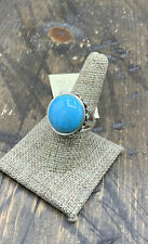 Barse Luxe Sphere Ring- Turquoise & Swavroski Crystal- Sterling Silver- 8- NWT