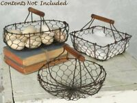 Farmhouse BASKETS Chicken Wire Set of 3 Rustic French Country Primitive Handles