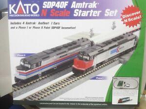 Kato 106-0043 Amtrak Train Set Engine SDP40F & 4 Passenger Cars Power Pack Track
