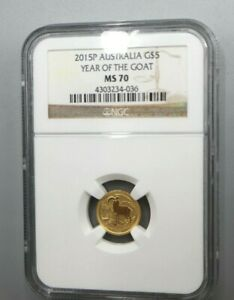 2015 P AUSTRALIA $5 1/20 OZ GOLD LUNAR YEAR OF THE GOAT COIN NGC MS 70
