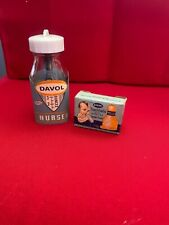 Davol Glass Baby Bottle (4oz) with label, nipple, and nipple box no chips