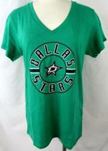 "Dallas Stars Womens L or XL Screened ""STARS CIRCLE"" V-neck T-shirt ADAS 10"