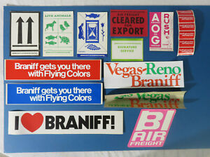 Vintage Braniff Airlines Lot of Decal Stickers and Labels