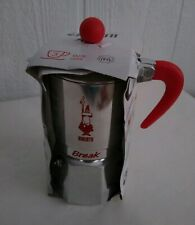 Bialetti Italy Moka Break 3-Cup Red Silver Tone Stove Top Coffee Maker Express