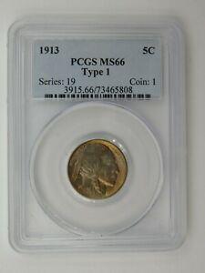 1913 Buffalo Nickel Type 1 PCGS Graded MS 66 (528)