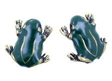 Vintage style green enamel frog stud earrings