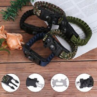Outdoor Camping Survival Bracelet Paracord Rescue Wristband Umbrella Rope Kit ZF