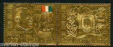 Ivory Coast Boigny & Coat Of Arms Gold Foil Pair Scott#299Fh Mint Nh