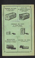 """PARIS (X°) CHABONS de BOIS BRIQUETTES BUCHES """"BERNOT"""" Facture au verso en 1932"""