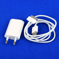 White USB EU AC Power Adapter Wall Charger Plug + Cable For iPod iPhone 3GS 4 4S