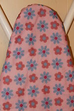 "PINK FLOWER DESIGN REPLACEMENT WIDE TOP IRONING BOARD COVER AND PAD 18"" X 48"""
