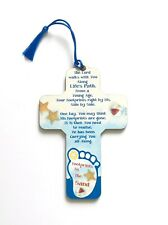 """FOOTPRINTS - Slim 5"""" Wooden Cross - Lovely Gift for a Child"""