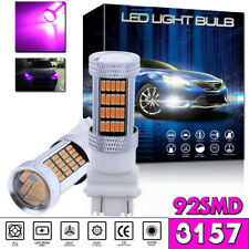 2x 92-SMD Pink Purple 3157 4114 4157 LED DRL Driving Daytime Running Light Bulbs