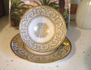 Rare Tirschenreuth Germany Gold Lace White Demitasse Tea Cup & Saucer very sweet