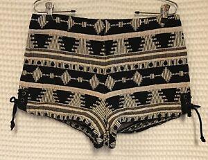 Ecote Size 12 Black White Aztec Mexican Blanket Shorty Shorts Tie Sides Festival