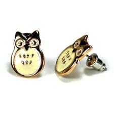 CUTE OWL EARRINGS Gold Plate Enamel Bird Fashion Jewelry Post Pair Stud