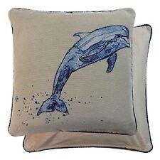 2x Relleno Mar Océano Delfín Tapicería Terciopelo Azul Negro 45.7cm-45 cm