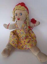 Vintage Rag Cloth Doll Embroidered Face Yarn Hair Handmade 1930s 1940s Primitive