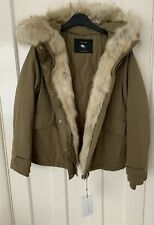7548b02b Zara Duck Down Feather Quilted Faux Fur Hooded Parka Coat Size L