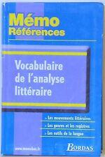 MEMO REFERENCES: VOCABULAIRE DE L'ANALYSE LITTERAIRE - 2002 - BORDAS
