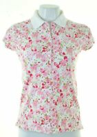 TOMMY HILFIGER Womens Polo Shirt Size 12 Medium Pink Floral Cotton  L302