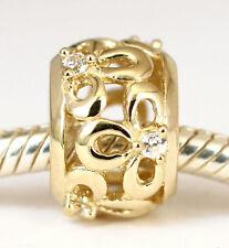 SOLID 9CT 9K GOLD Floral Flower BEAD with 6pcs Sparkling CZ For Charm Bracelet