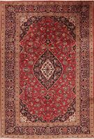 Red Traditional Floral Area Rug Hand-Knotted Oriental Dining Room Carpet 7x10