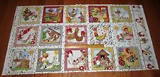 """COLORFUL COMICAL CHICKEN CHIQUE 6 3/4"""" Squares on WHITE 100% Cotton Fabric Panel"""
