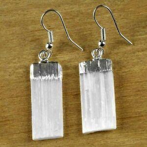 Natural Selenite Crystal Earrings Silver Dangle Wire Hook Reiki Energy Healing