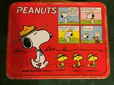 Vintage Peanuts Charlie Brown Snoopy Metal Lunch Box with Thermos 1960s
