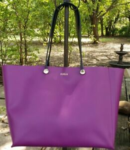Furla Eden Tote 961981 B BM01 H78  Deep Purple Leather with Floral Pouch NWT