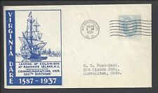 US First Day Cover FDC - #796 - 5¢ Virginia Dare - AUG 19 1937