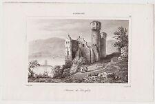 Ruinen der Burg Ehrenfels. Original Stahlstich 1845 ( Lemaitre )