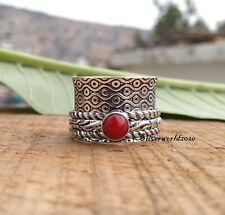 Coral Spinner Ring 925 Sterling Silver Plated Handmade Ring Size 7.5 zz679