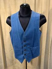 Mens Vintage 1970s H Bar  00004000 C Western Vest Blue Denim Size 38 S Cotton